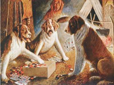 "Cassius Marcellus Coolidge ""Psy grające w pokera"""