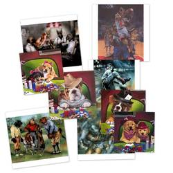 Collage of Jenny Newland's and Dan McManis's poker dog works
